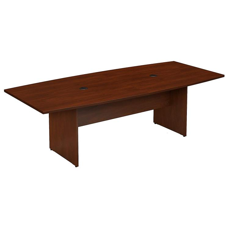 Bush Furniture 96W x 42D Boat Shaped Conference Table with Wood Base in Hansen Cherry