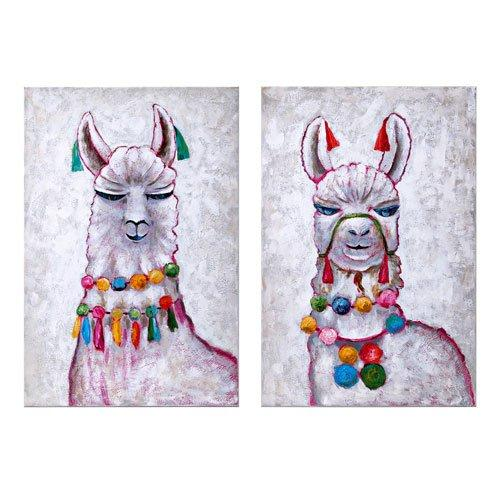 Llama Party Oil Painting - Assorted 2