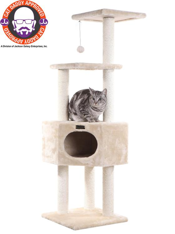 Armarkat Model B8201 Classic Cat Tree in Ivory, Jackson Galaxy Approved, Multi Levels with Ramp, Three Perches, Rope Swing, Two Condos