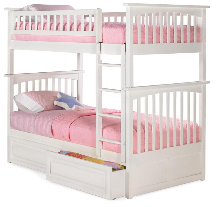 Atlantic Furniture Columbia Bunk Bed with 2 Raised Panel Bed Drawers