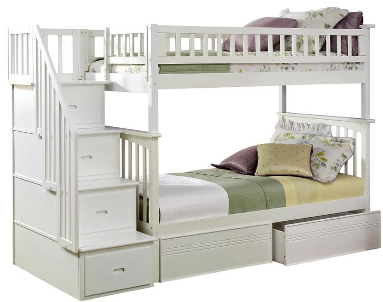 Columbia Staircase Bunk Bed Twin over Twin with Flat Panel Bed Drawers
