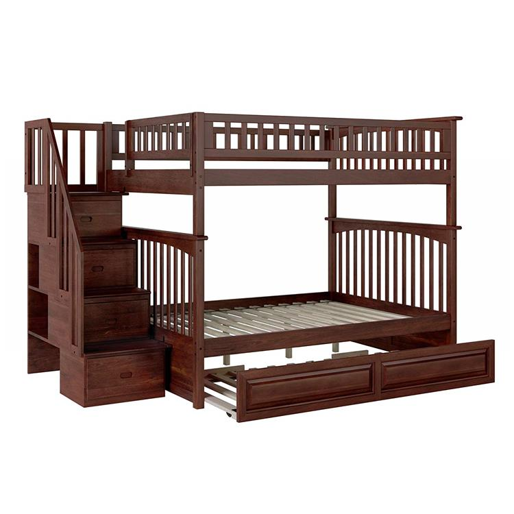 Columbia Staircase Bunk Bed Full over Full with Raised Panel Trundle Bed