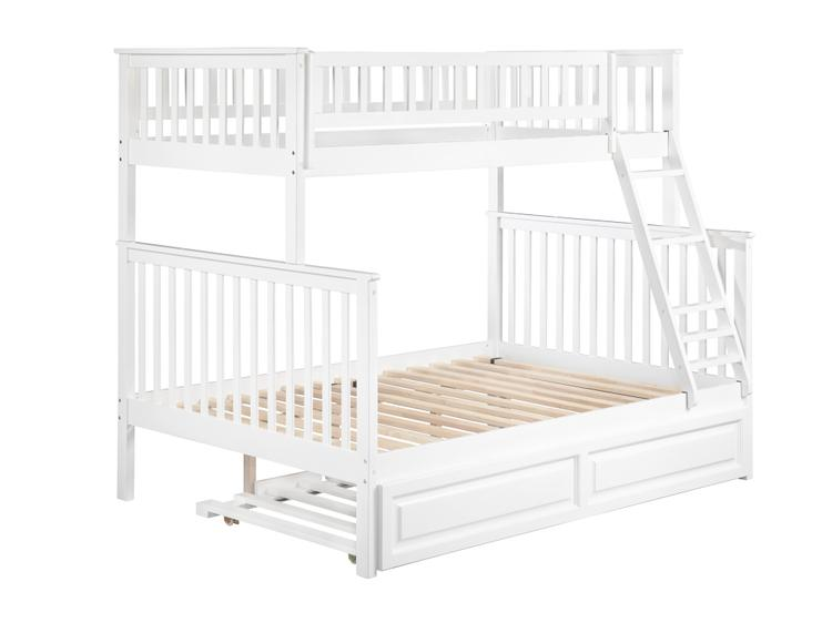 Atlantic Furniture Woodland Bunk Bed with Twin Size Raised Panel Trundle Bed