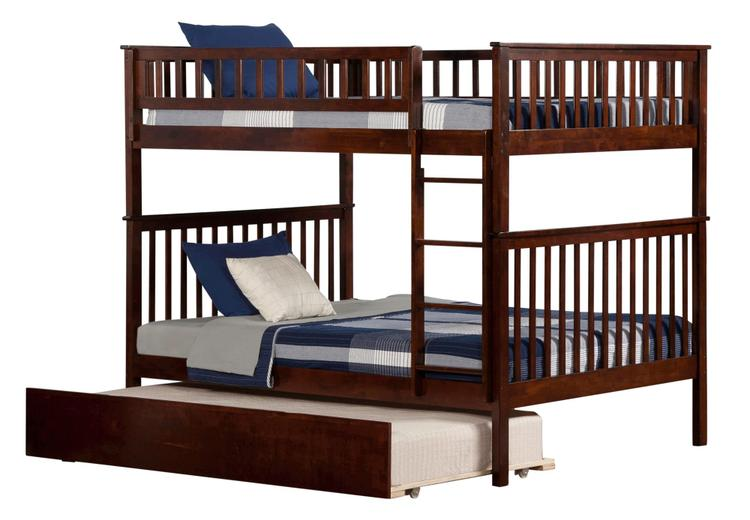 Woodland Bunk Bed Full over Full with Urban Trundle Bed