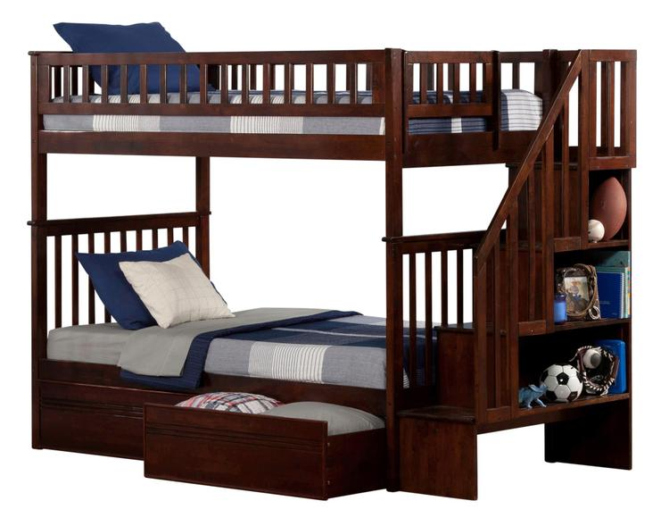 Woodland Staircase Bunk Bed Twin over Twin with Flat Panel Bed Drawers