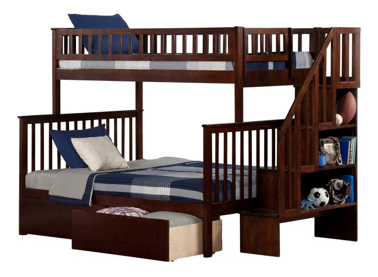 Woodland Staircase Bunk Bed Twin over Full with Flat Panel Bed Drawers