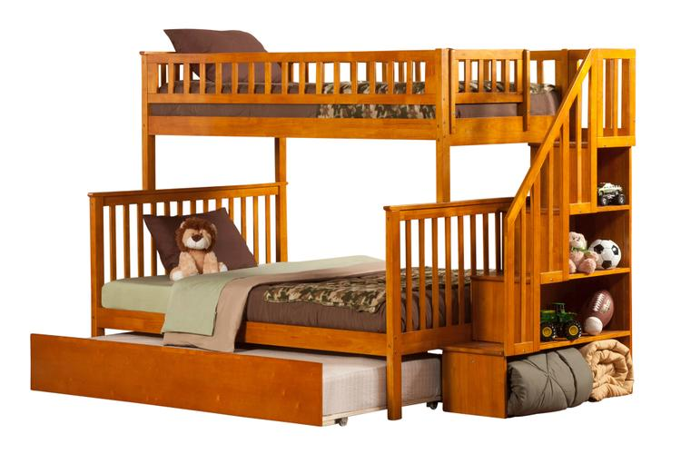 Woodland Staircase Bunk Bed Twin over Full with Urban Trundle Bed