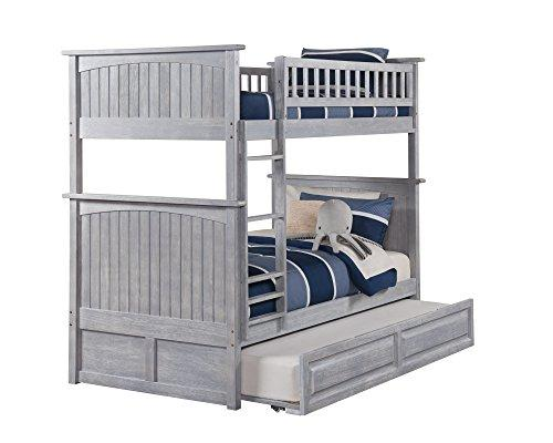 Nantucket Bunk Bed Twin over Twin with Raised Panel Trundle in Driftwood Grey