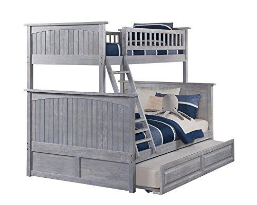 Nantucket Bunk Bed Twin over Full with Raised Panel Trundle in Driftwood Grey