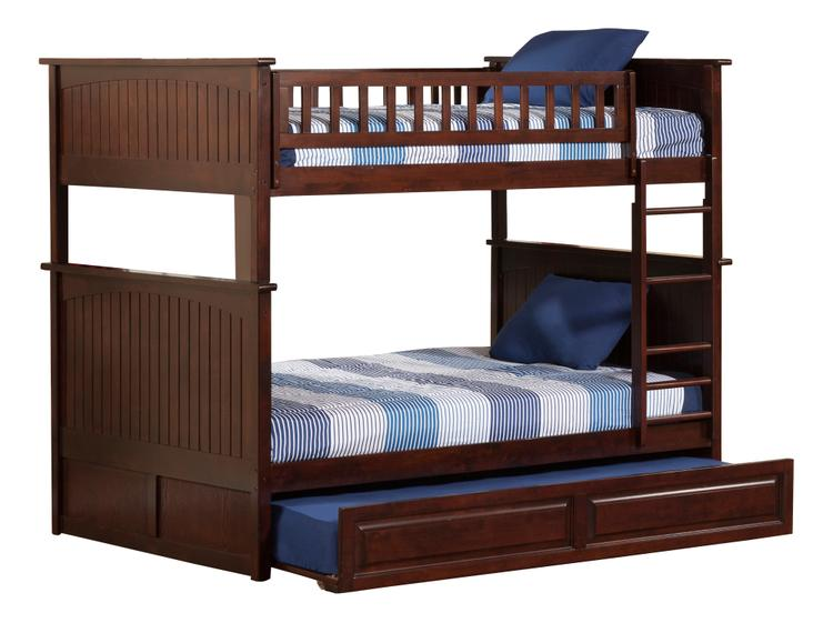 Atlantic Furniture Nantucket Bunk Bed with Twin Size Raised Panel Trundle Bed