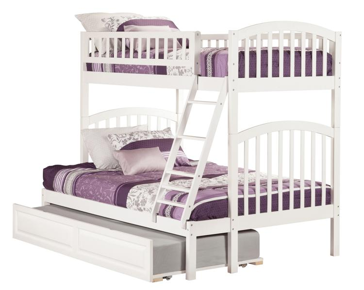 Atlantic Furniture Richland Bunk Bed with Twin Size Raised Panel Trundle Bed