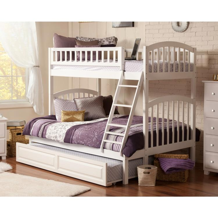 Richland Bunk Bed Twin over Full with Raised Panel Trundle Bed