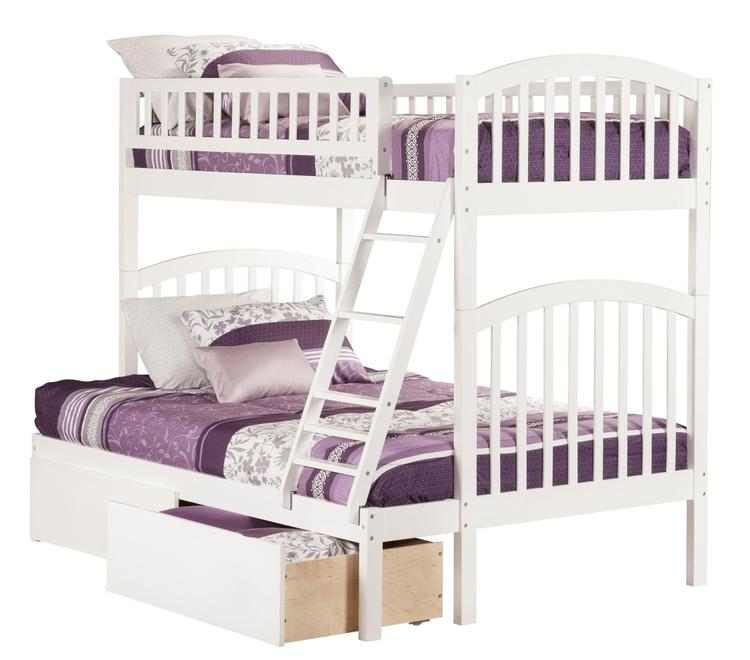 Richland Bunk Bed Twin over Full with 2 Urban Bed Drawers in Caramel