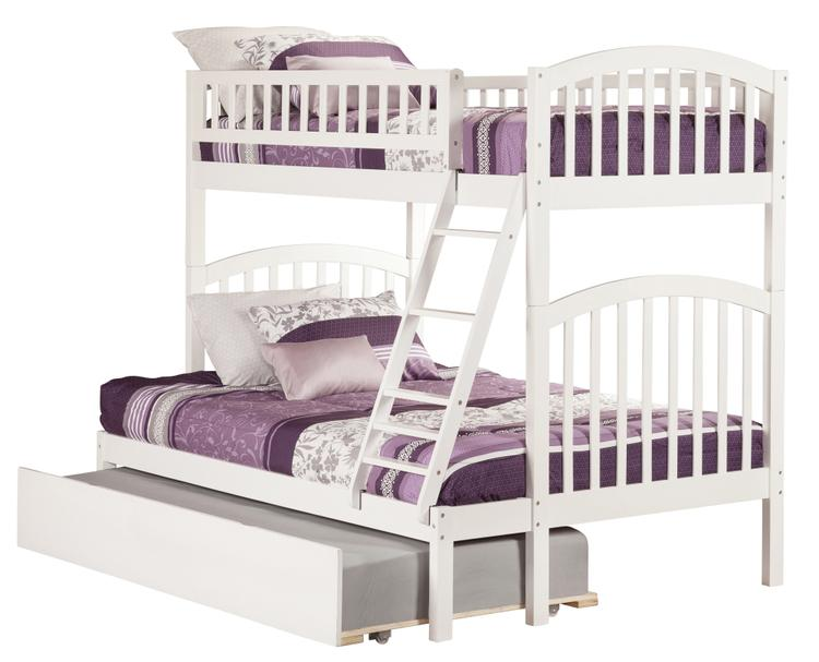 Atlantic Furniture Richland Bunk Bed Twin over Full with Twin Size Urban Trundle Bed in Grey