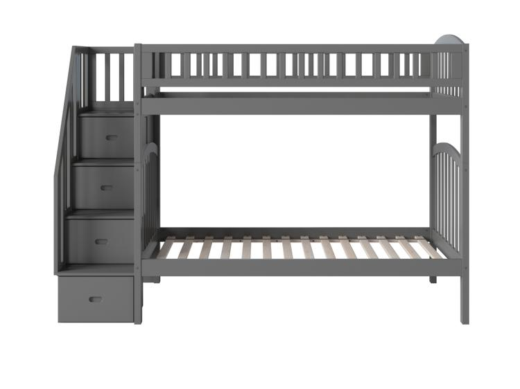 Westbrook Staircase Bunk Twin over Twin in Grey