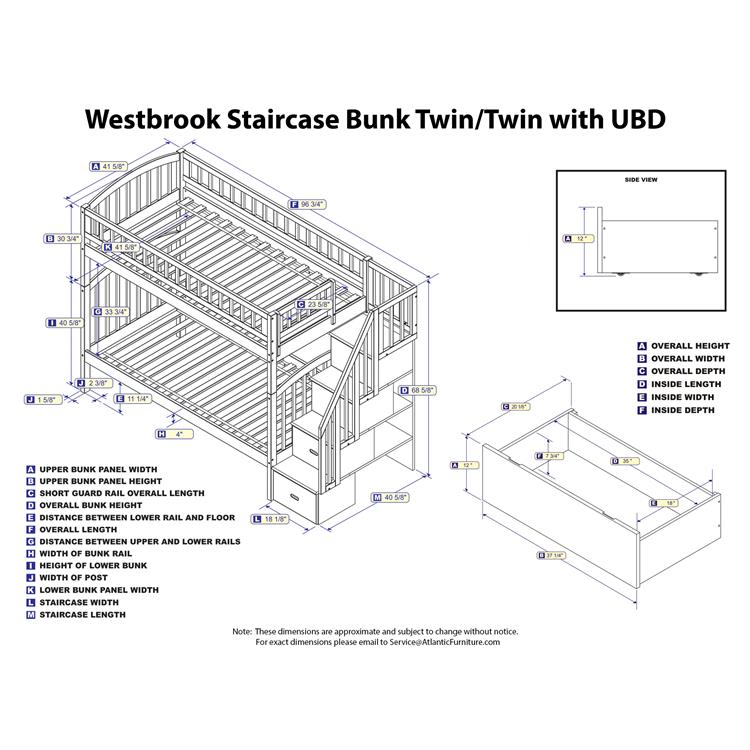 Atlantic Furniture Westbrook Staircase Bunk with 2 Urban Bed Drawers