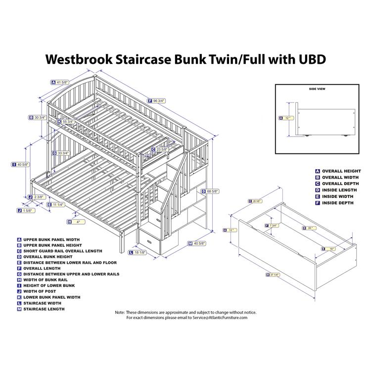 Westbrook Staircase Bunk Twin over Full with 2 Urban Bed Drawers in Grey