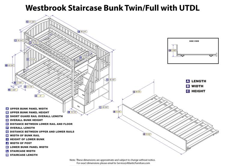 Atlantic Furniture Westbrook Staircase Bunk with Twin Size Urban Trundle Bed