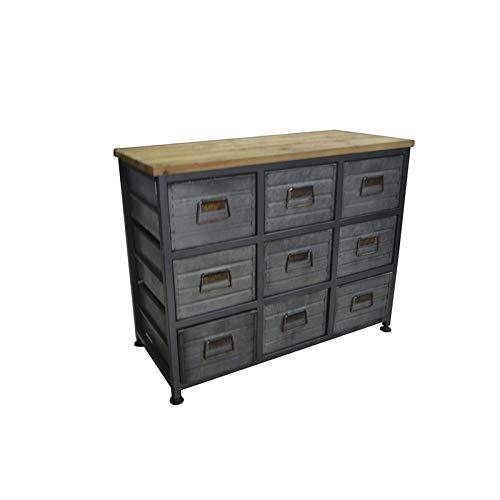 Emerald Home Grant Aged Metal and Blonde Wood Accent Cabinet with Nine Exposed Drawers And Solid Wood Top