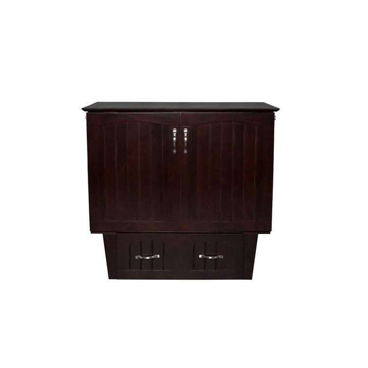 Atlantic Furniture Nantucket Murphy Bed Chest Twin Espresso with Charging Station & Cool Soft Mattress