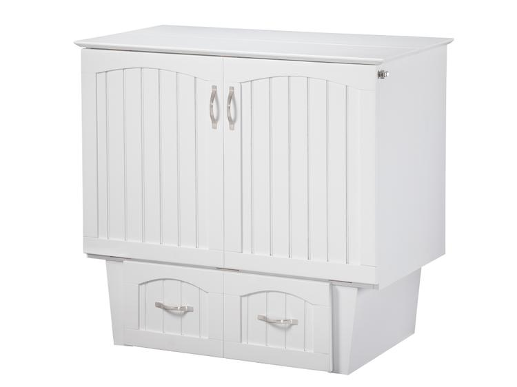 Atlantic Furniture Nantucket Murphy Bed Chest Twin in White with Charging Station & Coolsoft Mattress