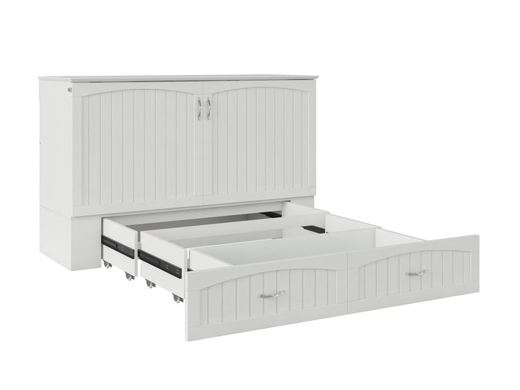 Atlantic Furniture Southampton Murphy Bed Chest Queen White with Charging Station