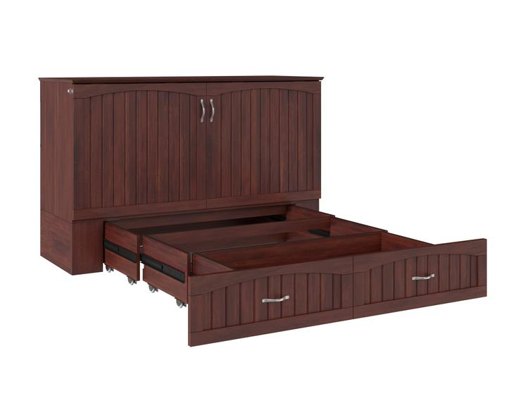 Atlantic Furniture Southampton Murphy Bed Chest Queen Walnut with Charging Station