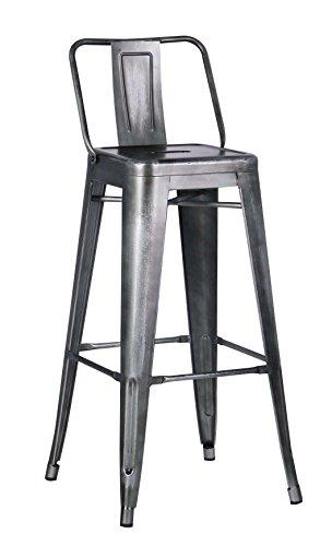 Distressed Metal Barstool with Back, Vintage Gun 30-inch, Set of 2