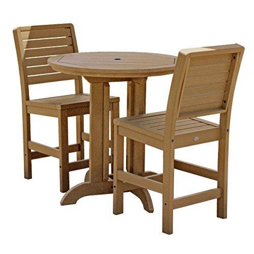 Highwood Furniture Weatherly 3pc Round Counter Dining Set