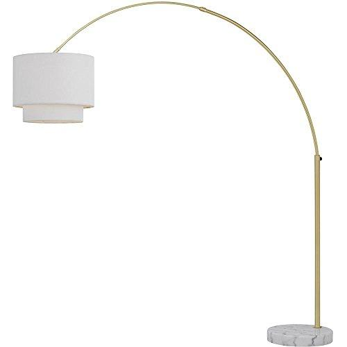 Arched Floor Lamp with Fabric Shade in Brushed Nickel