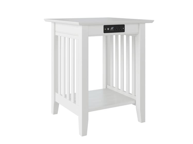 Atlantic Furniture Mission Printer Stand with Charger White