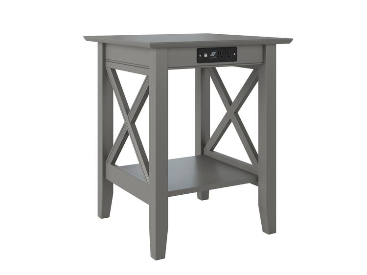 Atlantic Furniture Lexi Printer Stand with Charger Grey