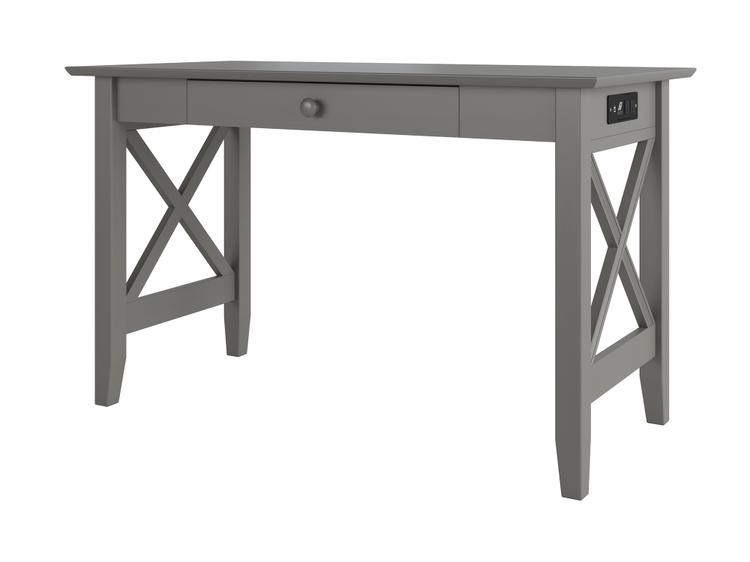 Atlantic Furniture Lexi Desk with Drawer and Charger Grey
