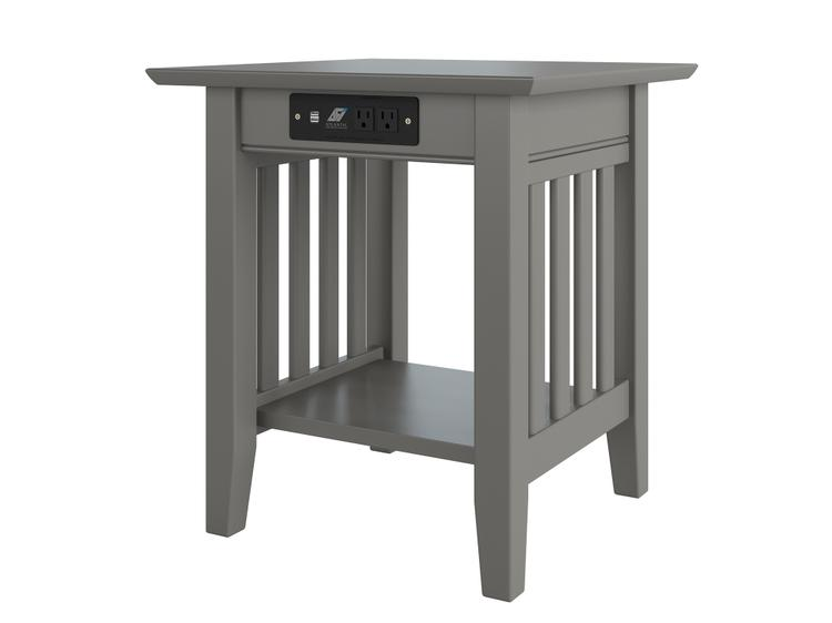 Atlantic Furniture Mission End Table with Charger Grey
