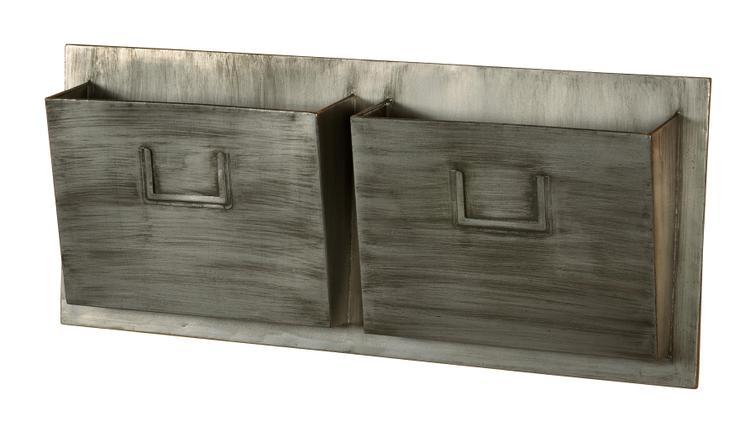 Industrial Metal Two Slot Mailbox - Horizontal