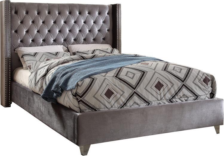 Aiden Grey Velvet Queen Bed