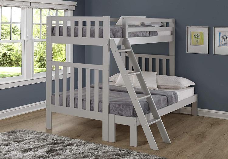 Bolton Furniture Aurora Twin Over Full Bunk Bed, Dove Gray