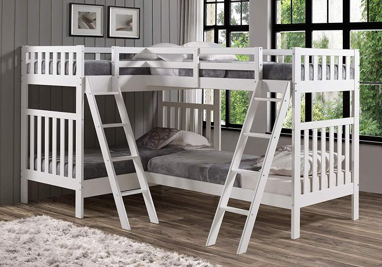 Bolton Furniture Aurora Twin Over Twin Bunk Bed with Quad Bunk Extension, White