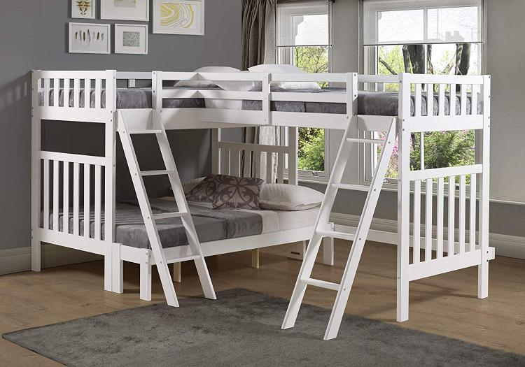 Bolton Furniture Aurora Twin Over Full Bunk Bed with Tri-Bunk Extension, White