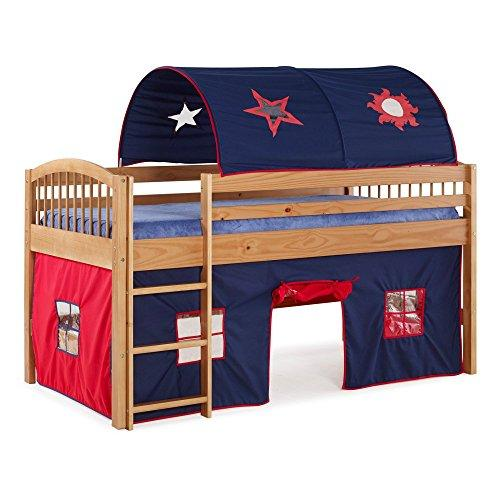 Bolton Furniture Addison Cinnamon Finish Junior Loft Bed; Blue Tent and Playhouse with Red Trim, Cinnamon