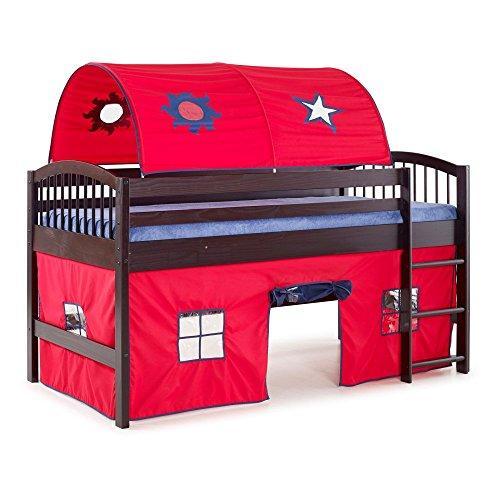 Bolton Furniture Addison Espresso Finish Junior Loft Bed; Red Tent and Playhouse with Blue Trim, Espresso