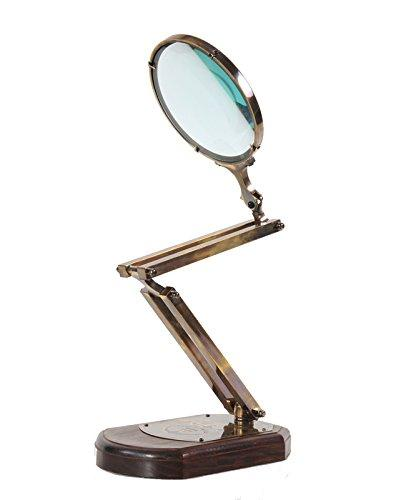 Brass Big Magnifier Glass W/ Wooden Base