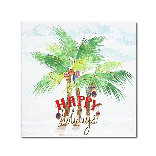 Lisa Powell Braun 'Xmas Palm Trees' Canvas Art