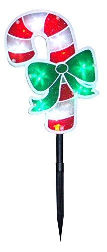 18 Inch Candy Cane Stake With 36 Led Lights - Set Of 3