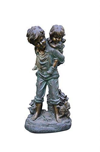 Boy Giving Piggyback Ride Statue