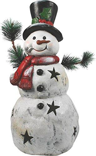 22 Inch Christmas Snowman Statuary With Black Stars
