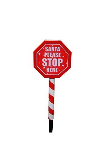 Solar Inchsanta Please Stop Here Inch Stake W/2 Led- Display Of 12