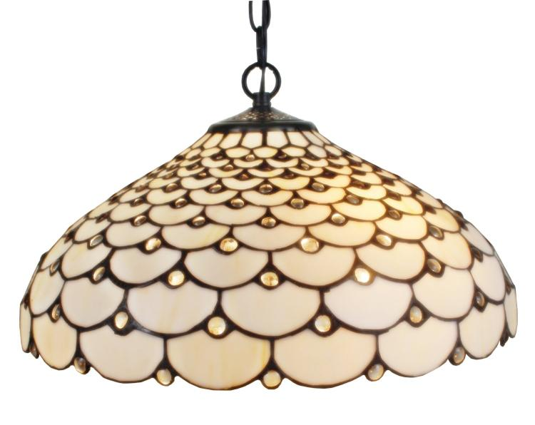 Amora Lighting AM011HL18 Tiffany Style 2-Light Jeweled Hanging Lamp 18 Inches Wide