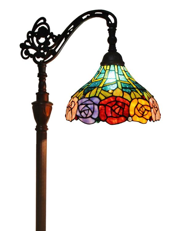 Amora Lighting Tiffany Style Roses Reading Floor Lamp, 62-Inches