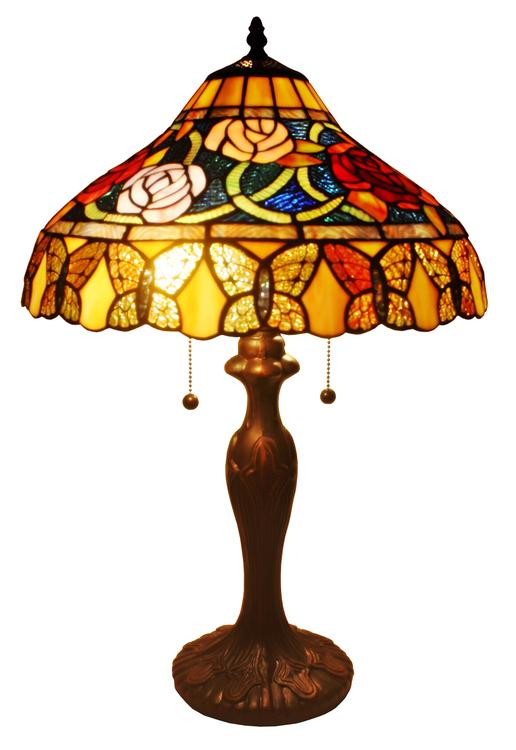 Amora Lighting Tiffany Style Roses And Butterflies Table Lamp, 24-Inches